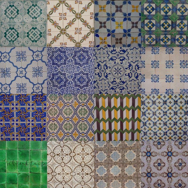 Azulejos, Muster, Kacheln, Fliesen, unterwegs, Schminktante, bunt