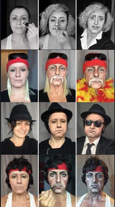 Make up Artistin Lucia Pittalis wundersame Metamorphosen in berühmte Filmcharaktere.