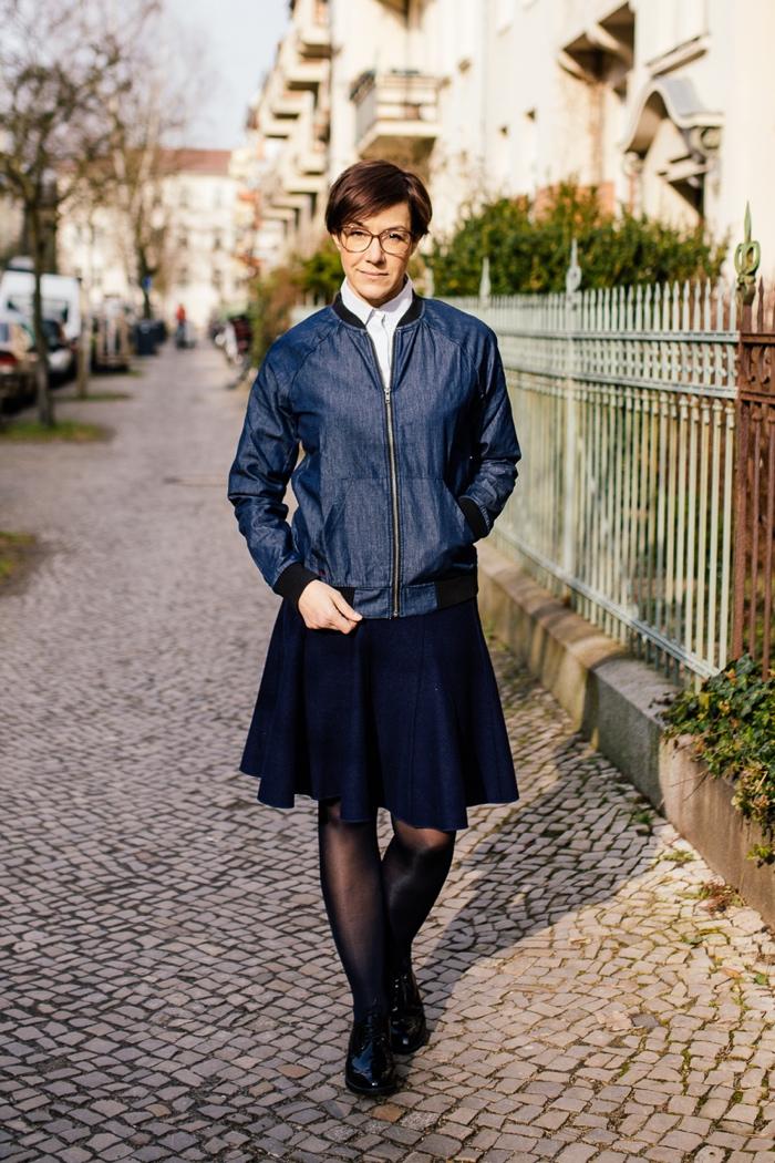 Mode, Fashion, Outfit, blau, marine, Blouson, Bluse, Rock, Bluse-Rock-Kombi, Collegelook