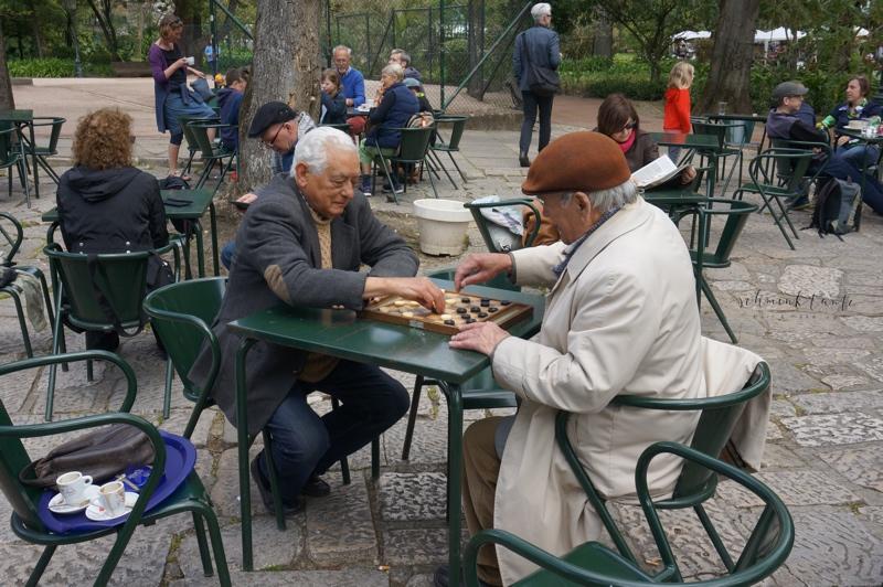 Menschen, Schach, Spiel, Park, Männer, Lissabon, Portugal, Reiseblog