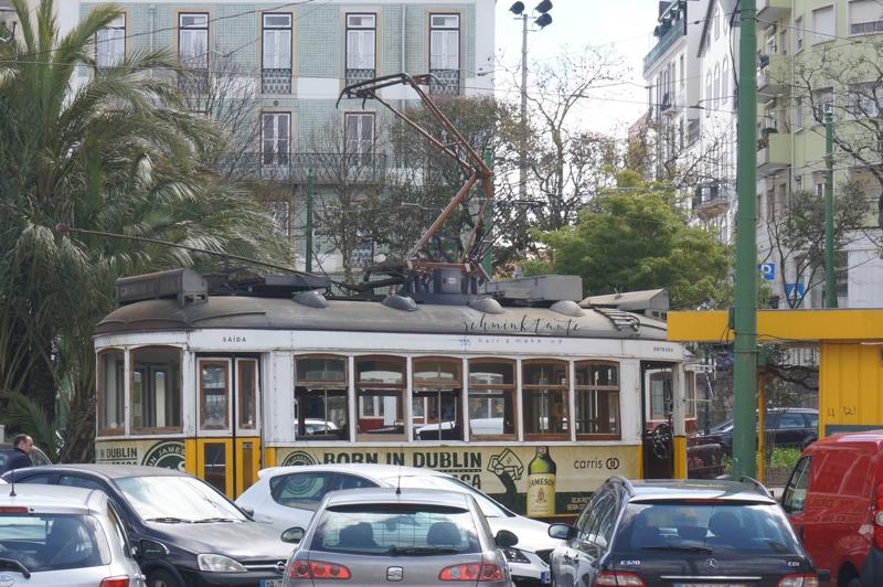 Straßenbahn, Lissabon, Stadtbild, Portugal