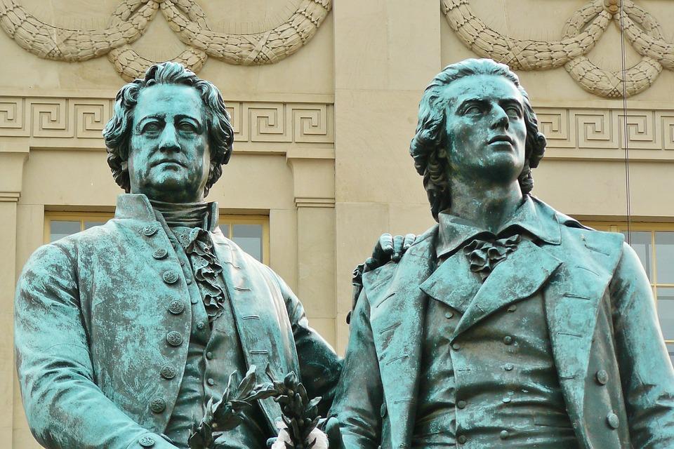 Goethe und Schiller in Weimar.